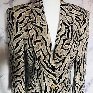 Bloomingdales 100% silk blazer animal print
